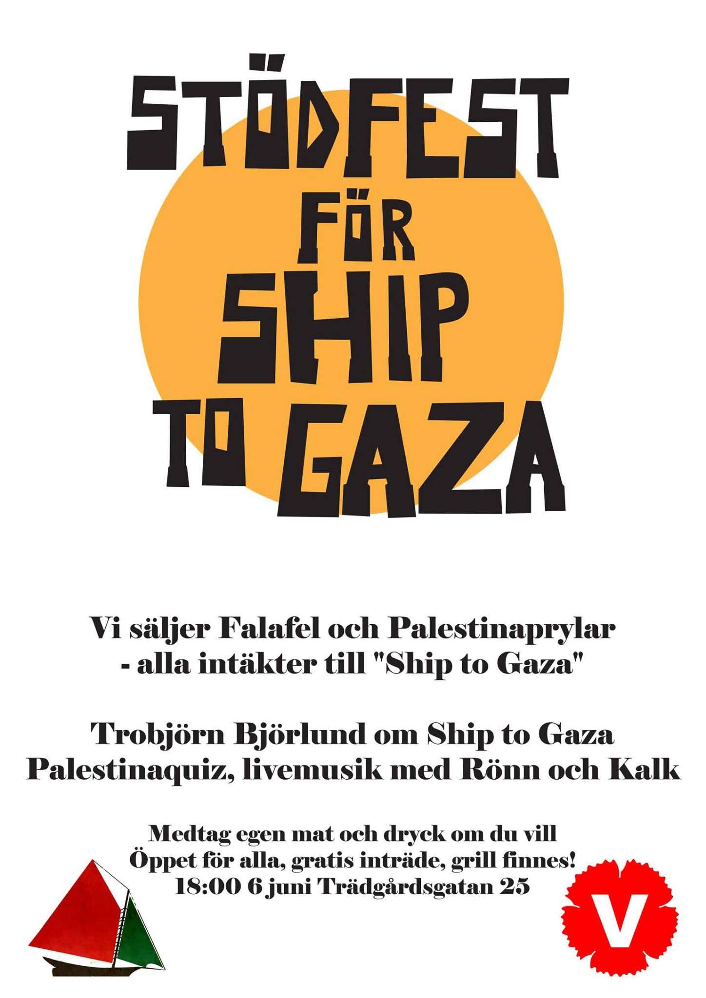 stödfest för palestina affisch