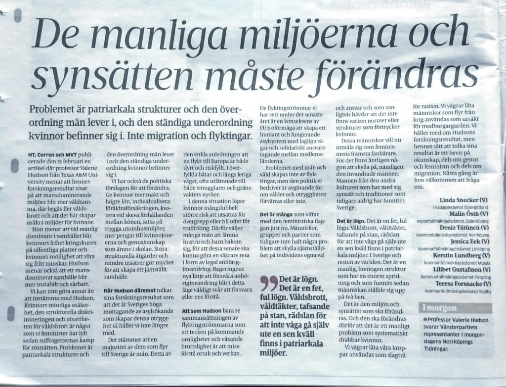 debattartikel NToCorren 25 feb av vänsterkvinnor i Östergötland